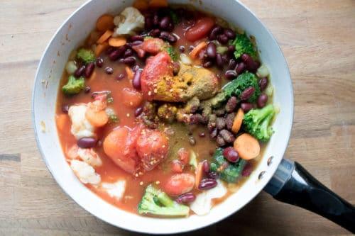 Easy Vegan Peanut Stew: Ingredients in the pan ready to simmer.
