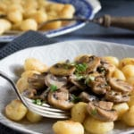 Fried Gnocchi with Garlic Mushrooms and Thyme