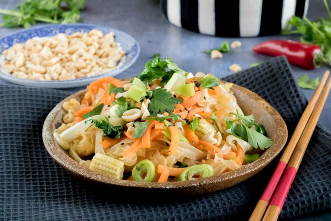 It only takes 15 minutes to make this delicious quick Pad Thai. It's also vegan and gluten free. A great midweek meal.