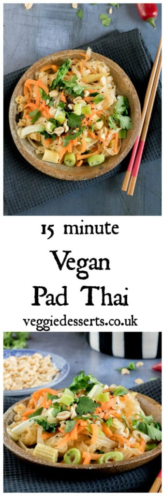 Ready in just 15 minutes, this easy vegan pad Thai is bursting with flavour. It's also gluten free. Veggies, wide rice noodles, ginger, garlic, chilli and lime juice all combine into a fragrant and tasty dish. #padthai #vegan #veganrecipes #15minutemeals #midweekmeals #recipe