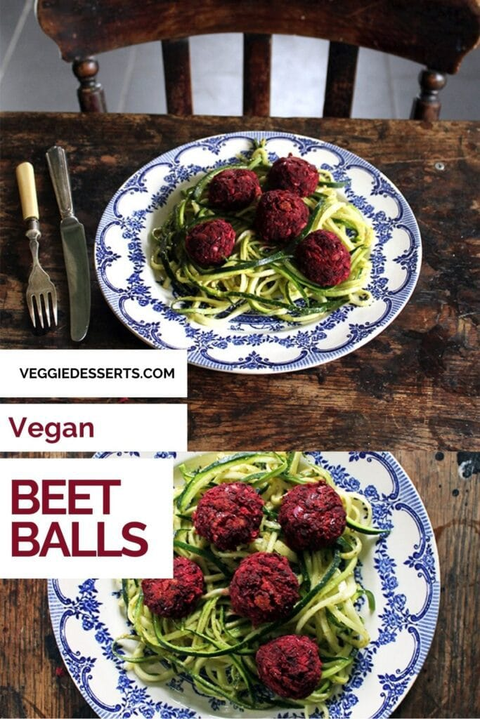 Plates of dinner on a wooden table with text: Vegan Beet Balls.