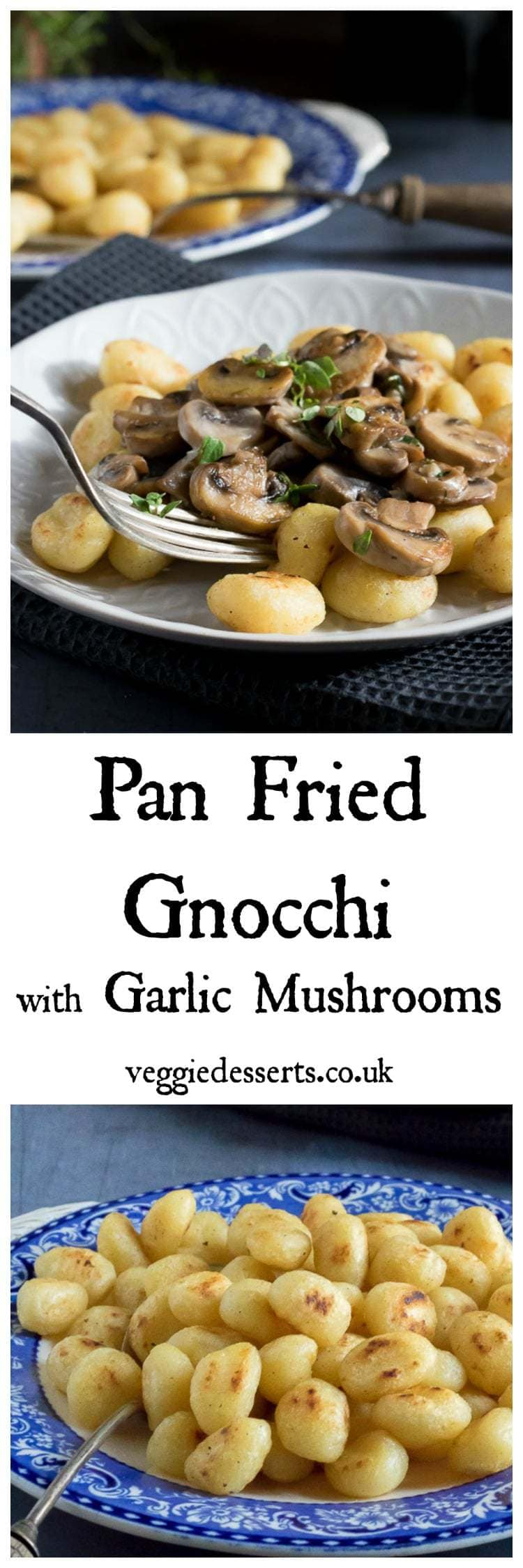Fried gnocchi turns the Italian potato dumplings into crispy, delicate morsels of deliciousness. They're so easy to make with 2 ingredients in just 7 minutes! I've topped them with creamy garlic mushrooms for a very quick and easy midweek meal.