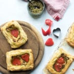 Pesto and Red Pepper Puff Pastry Tartlets