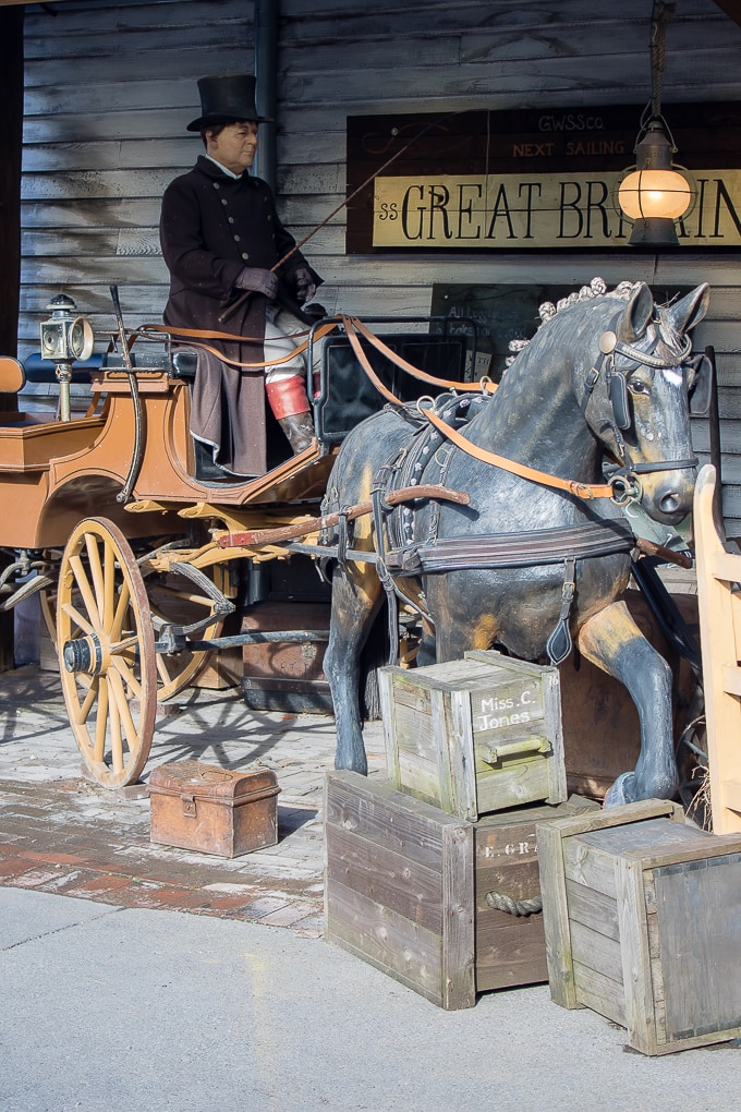 Model of horse drawn carriage at the SS Great Britain