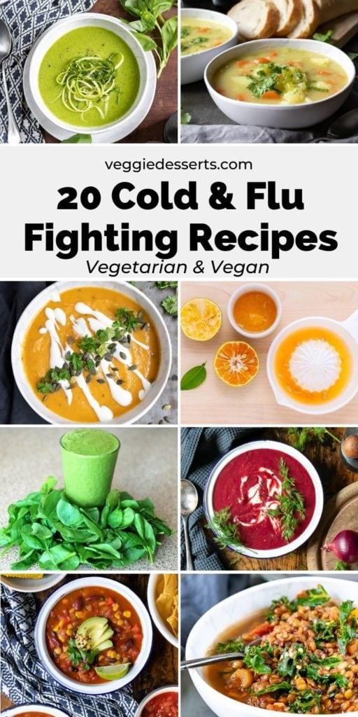 pinnable image for roundup of cold and flu fighting recipes