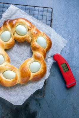 Testing the Italian Easter Braided Bread Wreath is done with a food thermometer