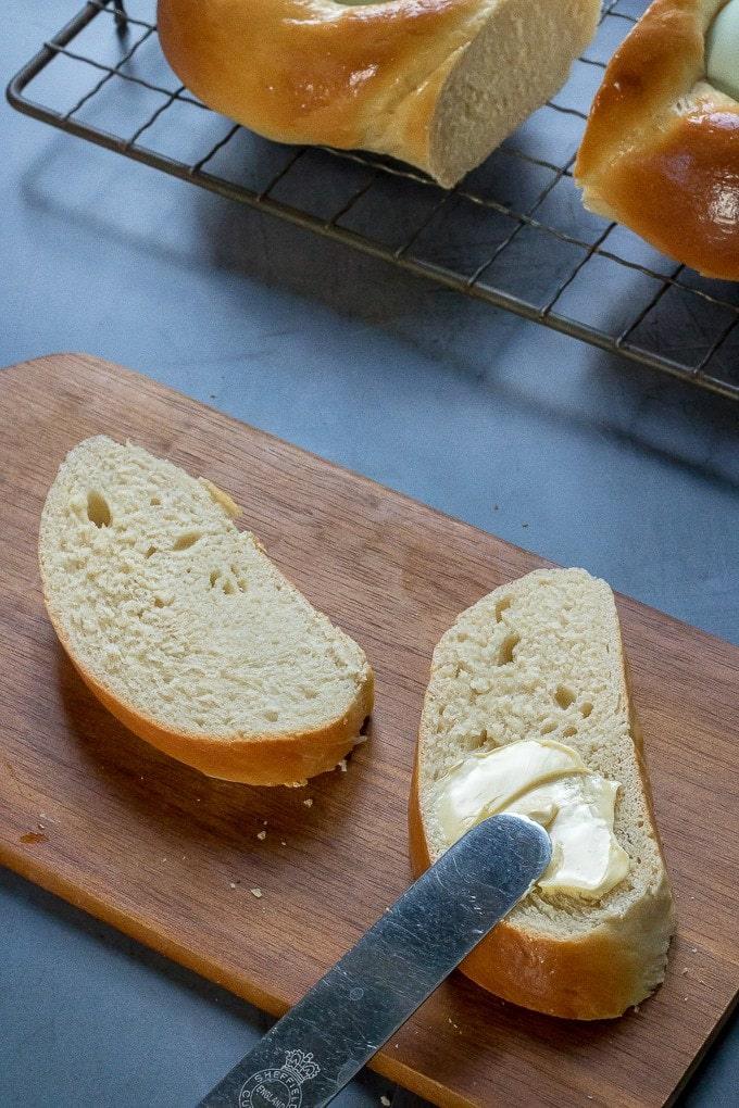 Slices of pane di pasqua easter bread.