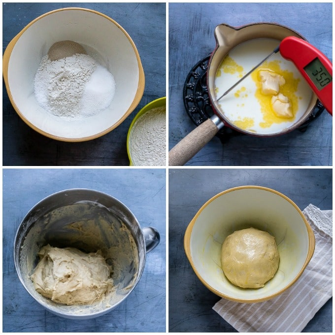 Collage: 1 Mix dry ingredients, 2: heat milk and butter, 3: mix well, 4 leave to rise.