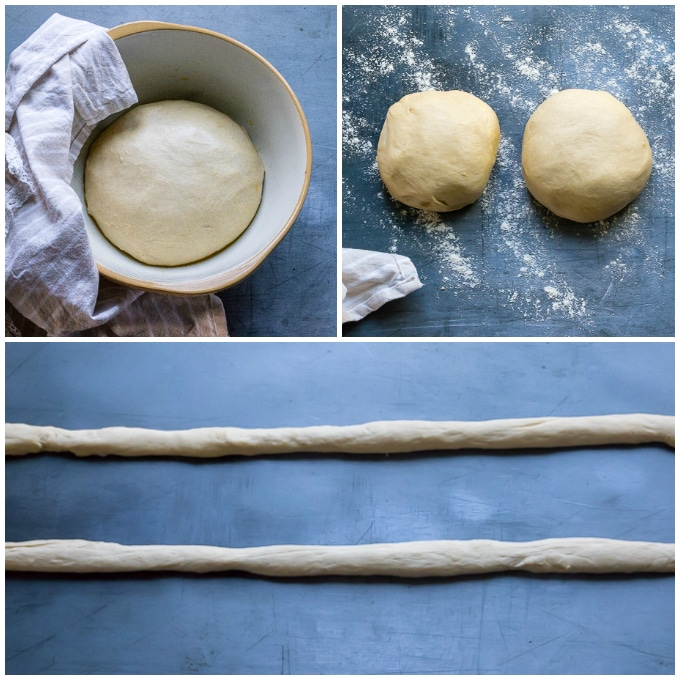 How to make Italian Braided Bread - Step 2, punch down, divide into balls, let rest for 10 mins, roll into 3ft long ropes