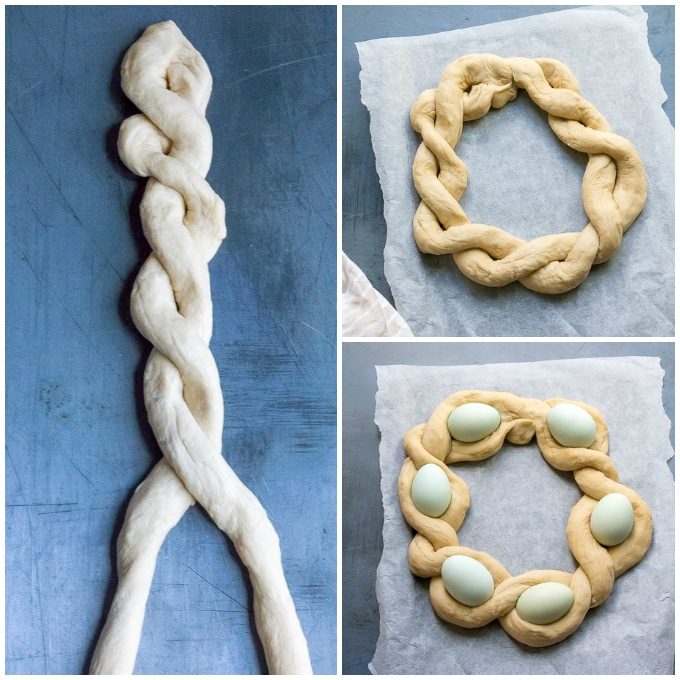How to make braided bread wreath: Step 3 - Pinch the ends together and twist. Shape into a wreath then nestle the eggs in the gaps.