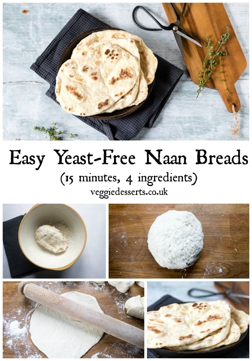 These yeast-free easy naan bread recipe is so quick! They're light, fluffy and ready in just 15 minutes with 4 ingredients. Step by step picture instructions. #naanbread #flatbread #quickbread