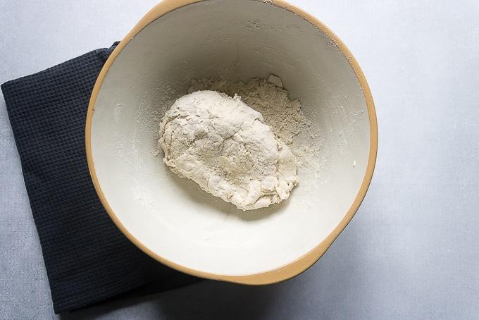 Mixing bowl of naan dough.