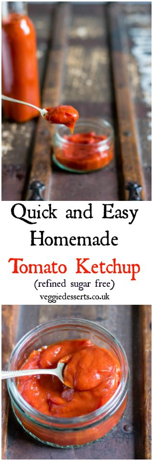 Make this tasty tomato ketchup recipe in only 15 minutes with store cupboard ingredients (and no refined sugar!). It's quick, easy and well worth the (minimal) effort it takes to make it fresh. #tomatosauce #tomatoketchup #ketchuprecipe #tomatorecipe #sauces #barbecuerecipes