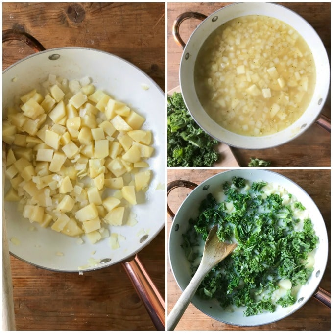 Collage: Sauteed potatoes and onions, with broth, kale added.