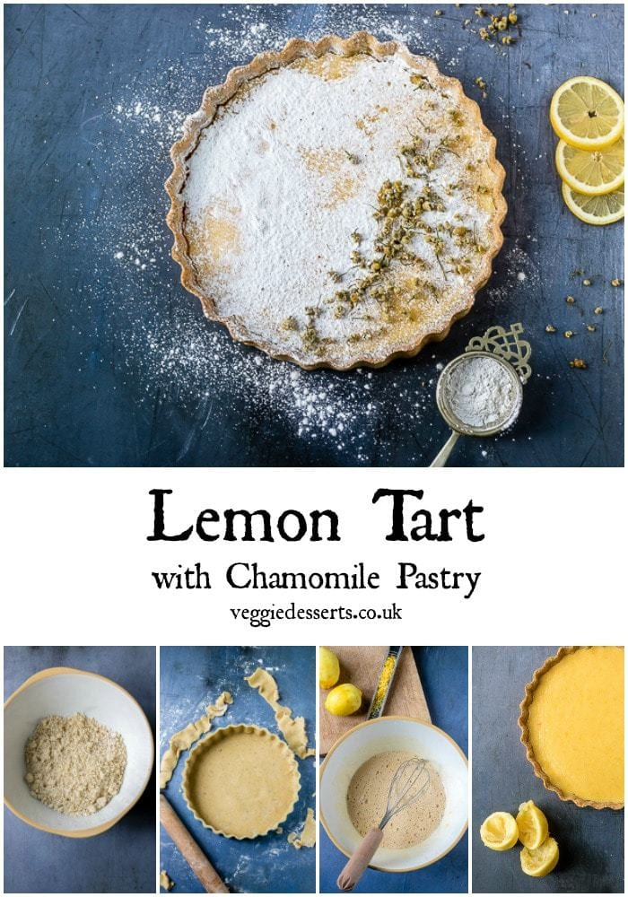 Evoke springtime with this easy lemon tart recipe made with a chamomile tea pastry crust and a dusting of chamomile-infused powdered sugar. It's simple to make and bursting with zingy lemon against the fragrant subtle chamomile notes. #lemontart #tarteaucitron #spring #easterrecipe #tearecipe #chamomile