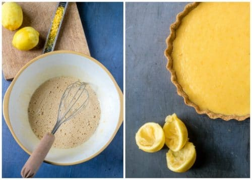 How to make lemon tart - Step 4: Whisk the eggs and sugar until smooth, mix in the cream then the lemon zest and juice. Pour into the pastry case and bake until just set.