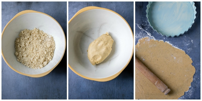 Collage of images making pastry.