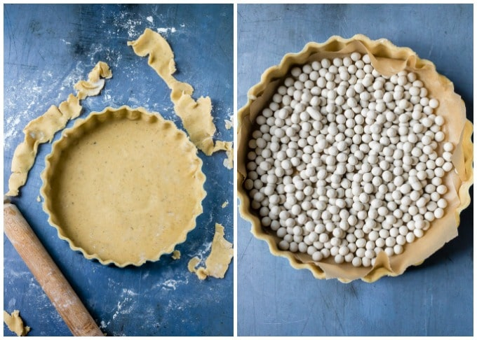 How to make lemon tart: Step 4: Line the pastry tin with the pastry, chill for 30 minutes, then line with baking paper and baking beans (or uncooked rice) and blind bake.