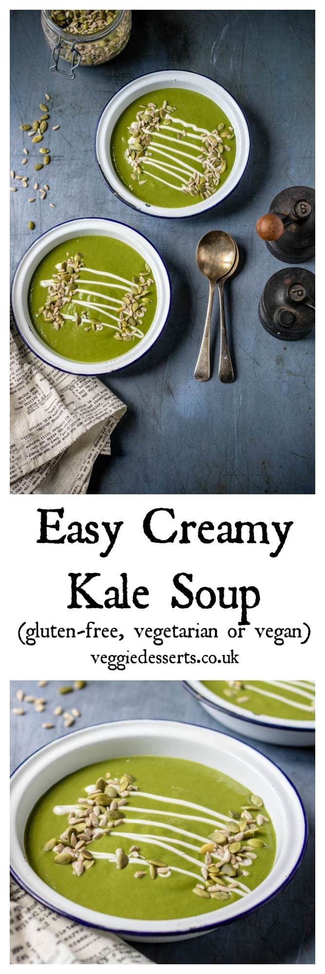 Easy Creamy Kale Soup  - ready in just 20 minutes, this nourishing soup is full of flavour. It's naturally vegetarian and gluten free, but easily vegan. Great on it's own or topped with a drizzle of cream and sprinkling of seeds. Only 150 calories per generous bowl. #kalesoup #soup #bowlfood #kalerecipes #vegansoup #greensoup #souprecipe #slimmingworldrecipes #weightwatchersrecipes