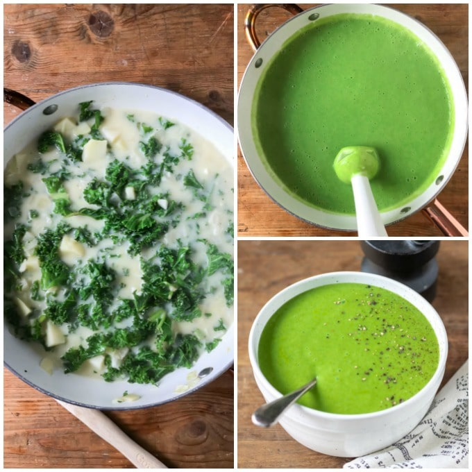Collage: Kale and soup base, blended, in bowl.
