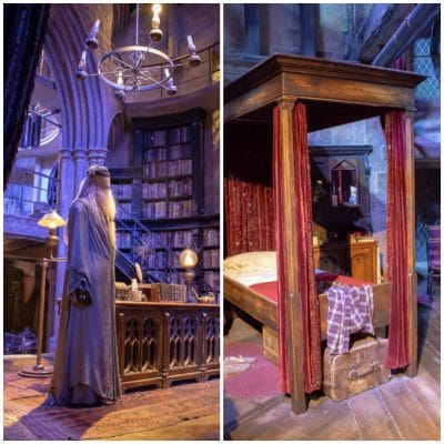 Dumbledore's office and the Gryffindor Boy's Dormitory at the Harry Potter Warner Bros studio tour, London