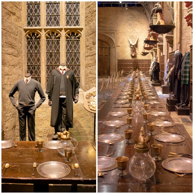 The Great Hall at the Harry Potter Studios Tour, London. Gryffindor costumes and a long table