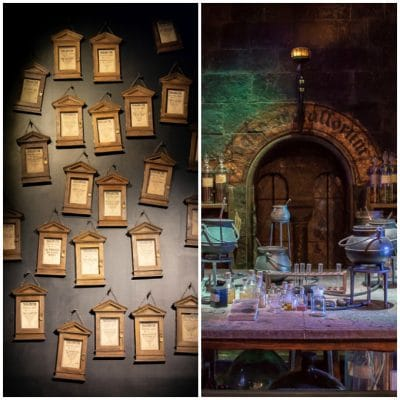 Inside the Harry Potter Studio Tour, London. A wall of pictures, potions classroom.