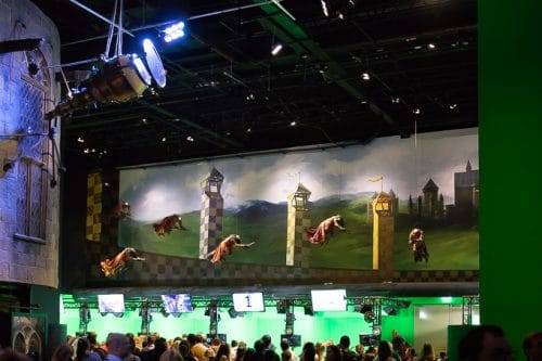 Quidditch and green screen flying broomsticks at Harry Potter studio tour