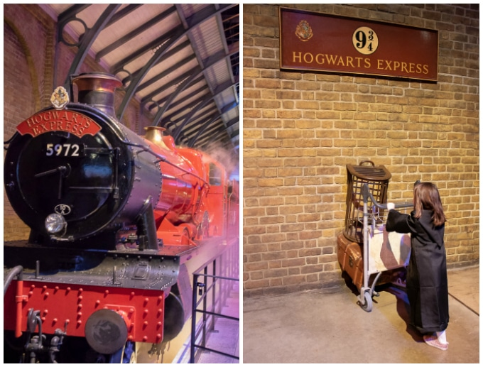 The Hogwarts Express at Platform 9 ¾ at the Harry Potter Studio Tour, Londo (Warner Bros)