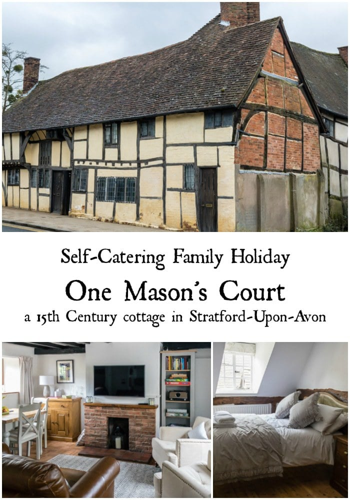 Review of One Mason's Court - a historic cottage built in 1485 in Stratford-Upon-Avon, Warwickshire, England. Find out how we enjoyed our self catering family holiday in Shakespeare's home town. #staycation #shakespeare #tudor #tudorbuilding #15thcentury #stratforduponavon #warwickshire #holiday