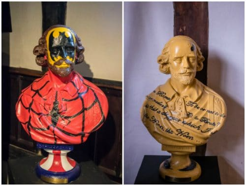 A family weekend in Stratford upon Avon - painted busts of Shakespeare - one superhero, one quotes