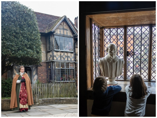 A weekend in Stratford-upon-Avon : An actor outside of Shakepeare's Birthplace and the view from inside