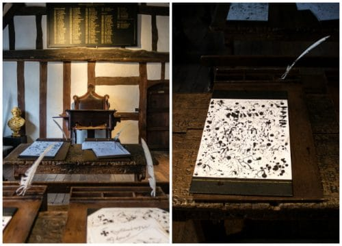 Inside Shakespeare's Schoolroom and Guildhall - a great day out during a weekend in Stratford-upon-Avon