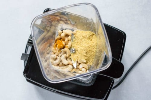 How to make vegan parmesan: step 2 - whiz all ingredients in a blender