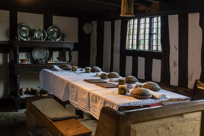 Inside a Tudor dining room at Mary Arden's Farm - Stratford upon Avon