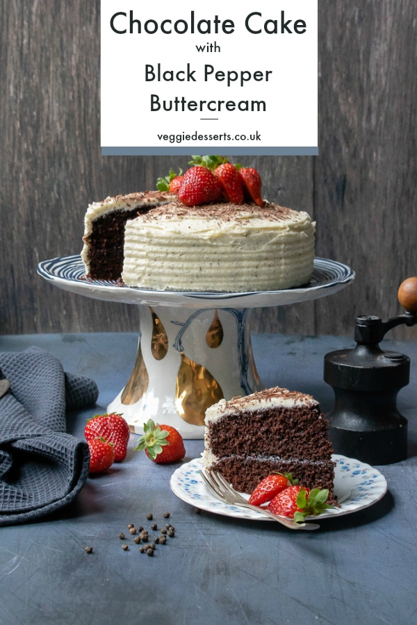 An easy one-bowl chocolate cake, topped with a delicious and intriguing black pepper buttercream icing. The black pepper adds a subtle fragrant spice that pairs beautifully with the vanilla buttercream and chocolate cake. #onebowlchocolatecake #chocolatecake #blackpepperfrosting #blackpepperbuttercream #easychocolatecake