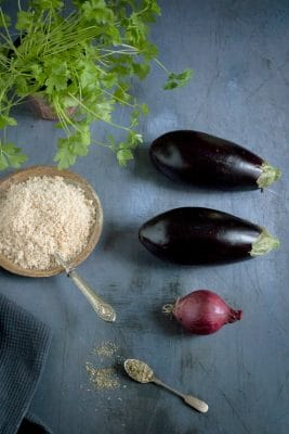 Aubergine Eggplant Meatballs ingredients: eggplants/aubergines, red onion, breadcrumbs, spices