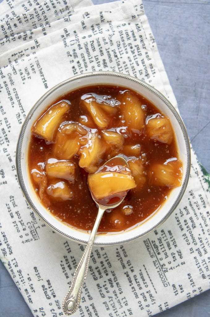 Bowl of pineapple compote.
