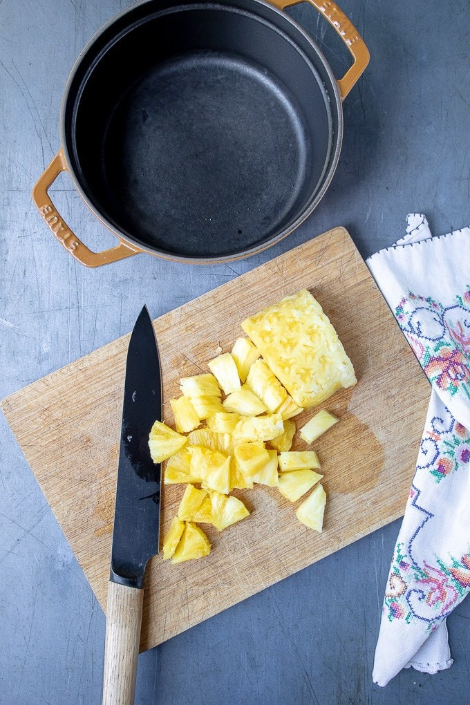 How to make pineapple compote: Step 1 - chop the pineapple into chunks (or use canned or frozen)
