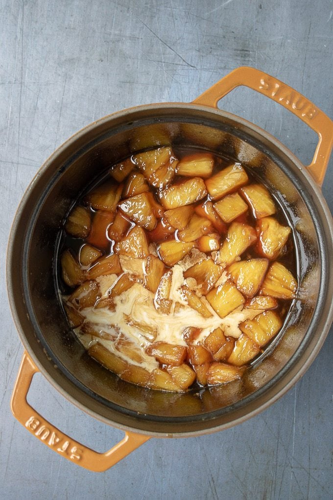 Pot of pineapple, sugar syrup and cornstarch slurry.