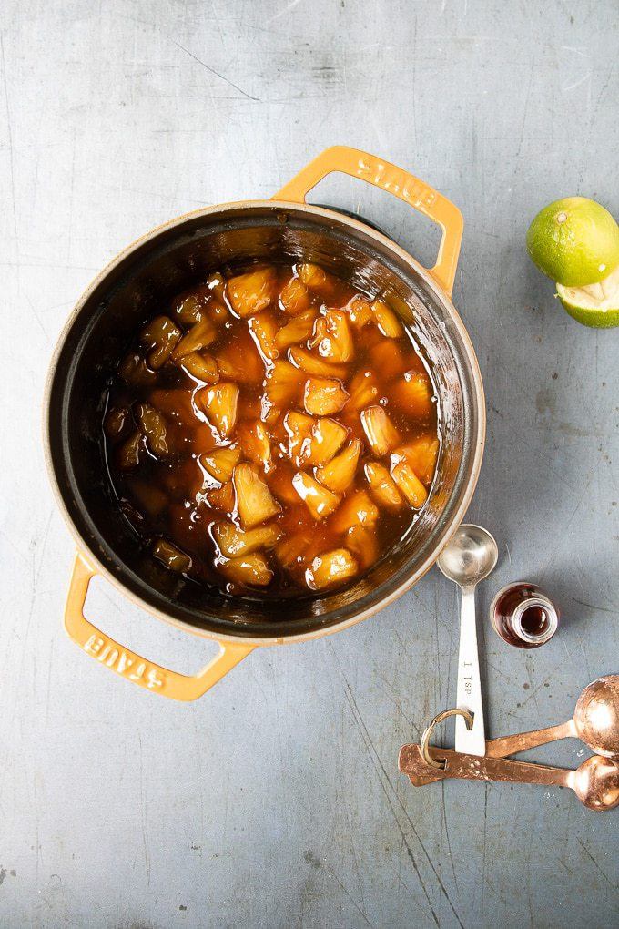 How to make pineapple compote: Step 5 - Stir in the vanilla and rum (if using). Allow to cool