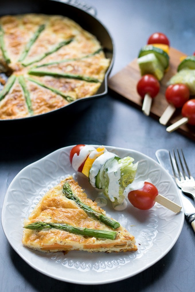 A slice of sweet potato frittata on a plate.