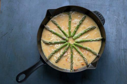 Making a frittata.