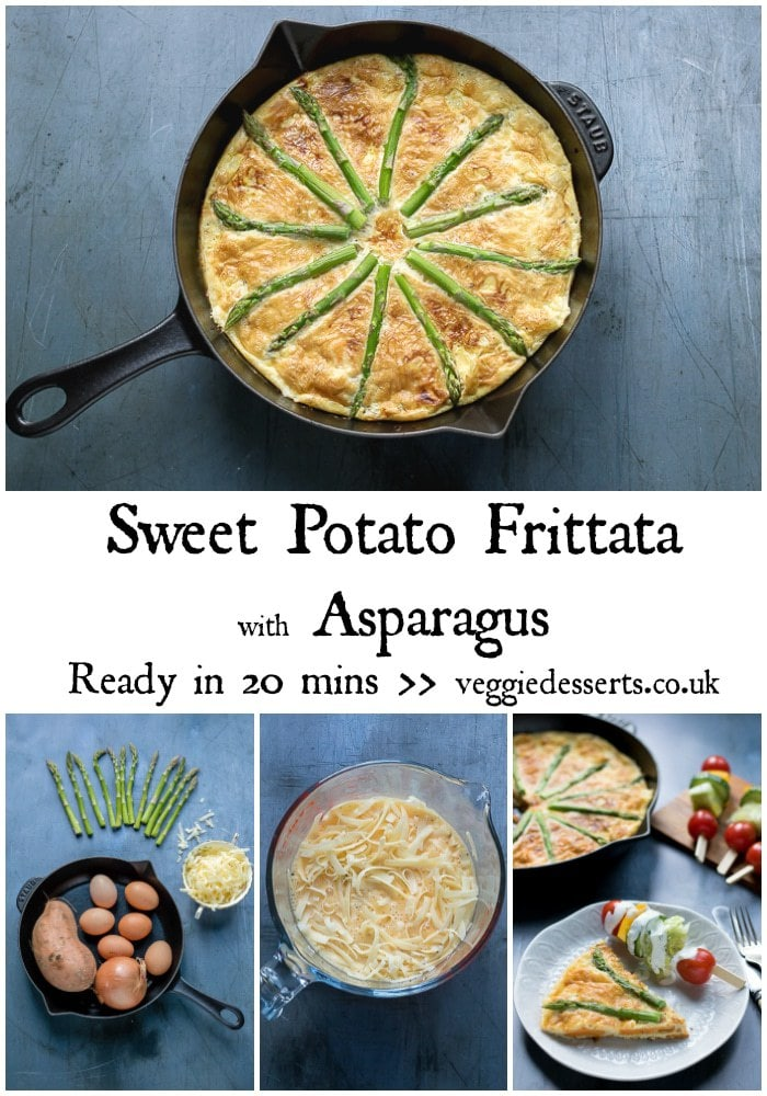 Enjoy this tasty sweet potato frittata for breakfast, brunch, lunch or dinner! It's full of nourishing ingredients with a hit of delicious cheese. Ready in just 20 minutes, it's a perfect midweek meal alongside a salad.  #sweetpotato #frittata #frittatarecipe #sweetpotatofrittata #vegetarianfrittata