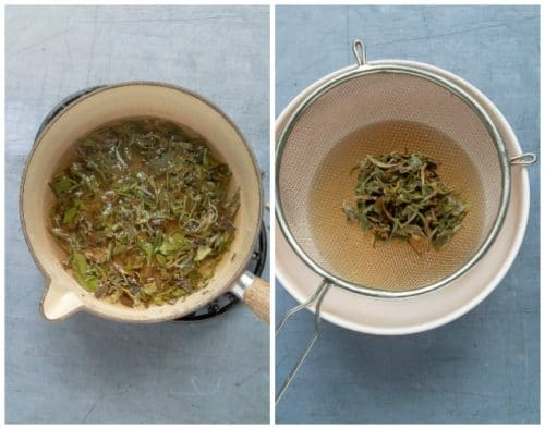 How to make tea simple syrup: Step 1 - heat the tea in the water in saucepan. Step 2 - strain over a bowl to catch the tea infused water