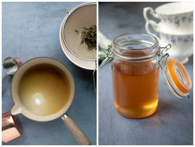 How to make tea simple syrup: Step3 - heat the tea infused water with sugar. Step 4 - allow to cool and pour into a sterilised jar.