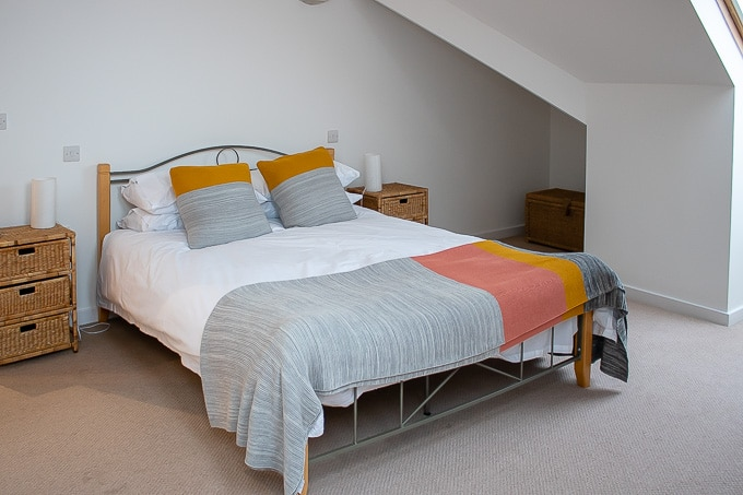 The master bedroom at Gylly Sunrise self catering falmouth