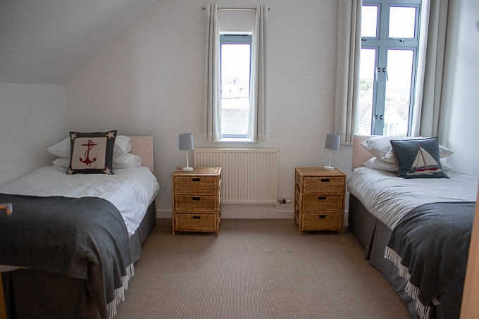 Twin room at Gylly Sunrise, self catering Falmouth