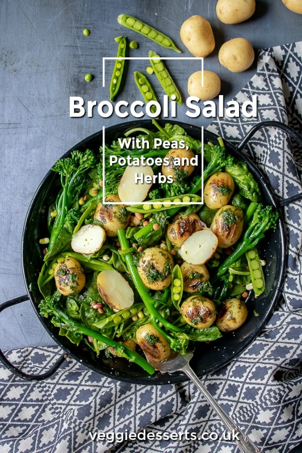 You must try this broccoli salad with potatoes, peas, spinach and fresh herbs. It's vegan, gluten free, dairy free and sooo easy and tasty. This salad is a great barbecue side dish or main meal. It's a showstopper with all those lovely green veggies and hearty spuds. I urge you to make it now! #broccolisalad #salad #summersalad #potatosalad