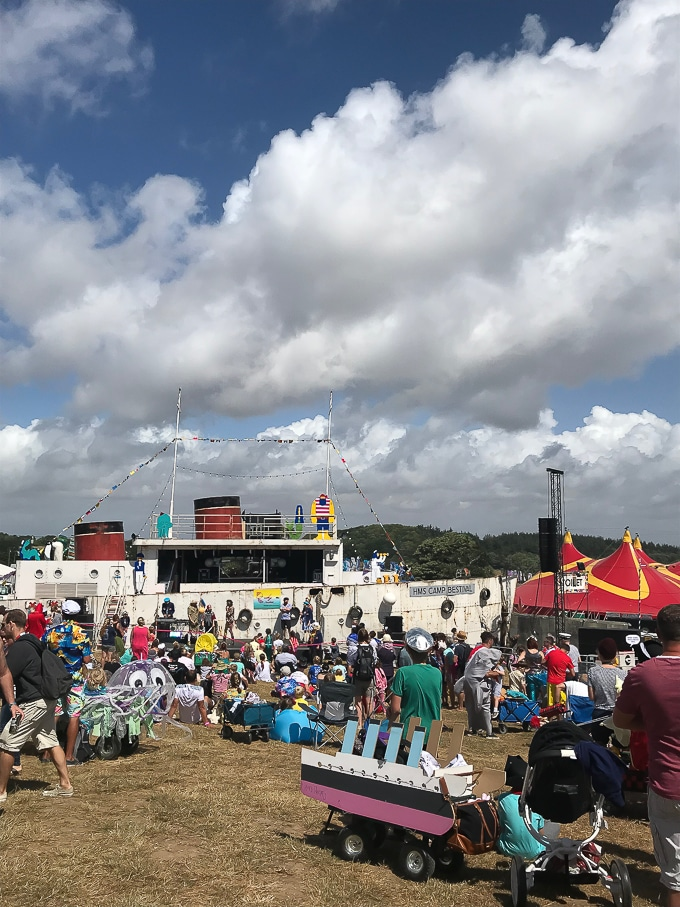 The HMS Camp Bestival - a ship shaped stage